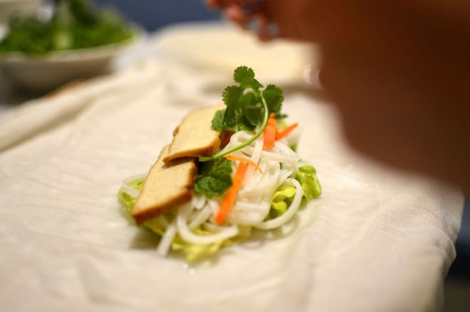 Spring roll mid-preparation